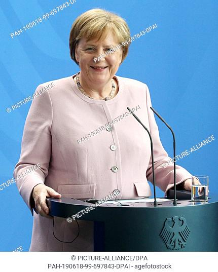 18 June 2019, Berlin: Chancellor Angela Merkel (CDU) answers questions from journalists during a press conference with the Ukrainian President