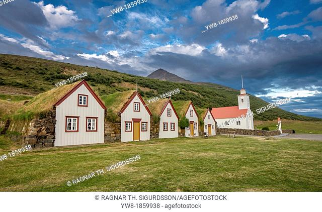 Traditional Icelandic farmhouses, Laufas Museum, Northern, Iceland