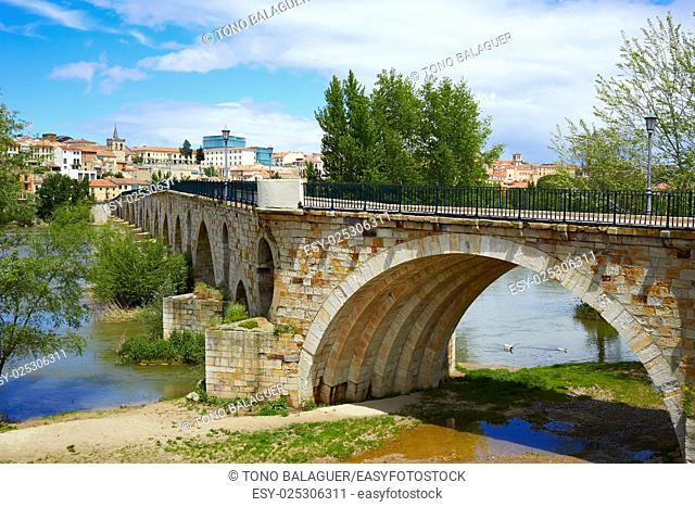 Zamora Puente de Piedra stone bridge on Duero river of Spain by Via de la Plata