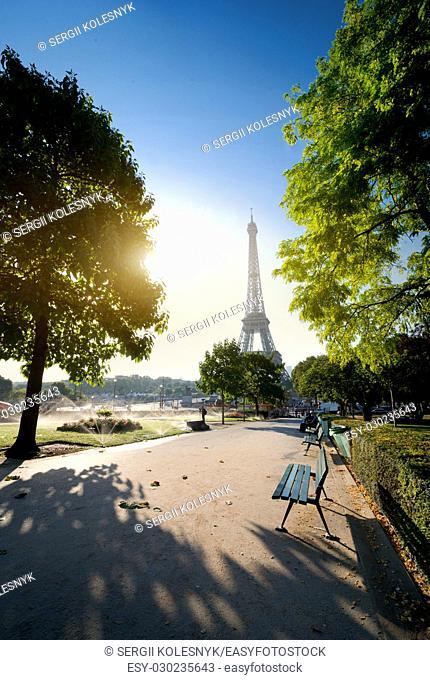 Garden in Paris near Eiffel Tower at sunny morning, France