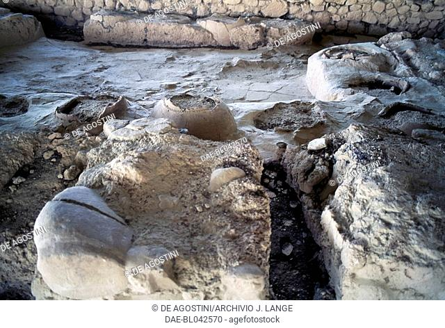 Ruins of the Palace of Nestor, ancient town of Pylos, Messinia, Greece. Mycenaean civilisation, 13th century BC