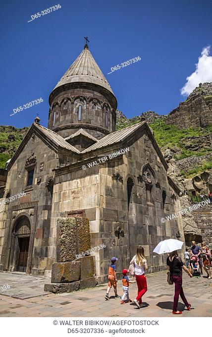 Armenia, Geghard, Geghard Monastery, Surp Astvatsatsin Church, 13th century, exterior with visitors, NR