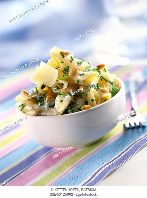 Penne with pinenuts and chives