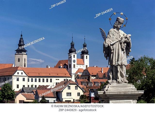 Telc, Czech Republic, UNESCO world heritage town, statue of St. John of Nepomuk on the dike