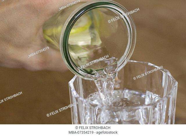 Glass carafe with lemon water