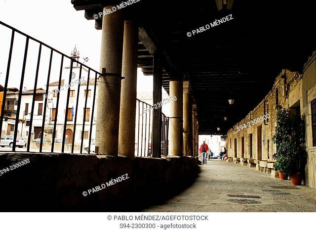 Arcade in main square of Cuacos de Yuste, Caceres, Spain