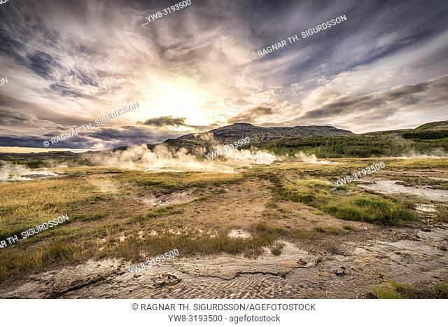 The Great Geyser Area, Iceland. This image is shot using a drone