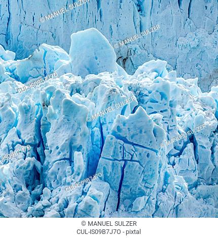Detail of cracked ice at Perito Moreno Glacier, Los Glaciares National Park, Patagonia, Chile