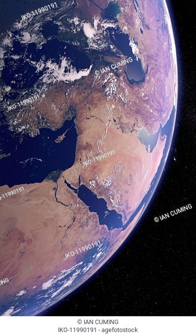 Digitally manipulated image of the Middle East from space