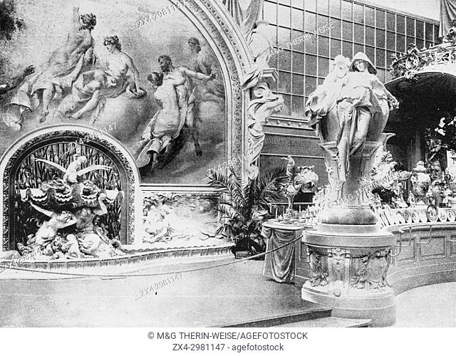 German Pavilion, Royal Porcelain Manufactory section, Universal Exhibition 1900 in Paris, Picture from the French weekly newspaper l'Illustration
