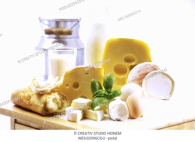 Foodstill with cheese, eggs and milk