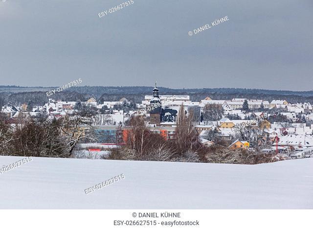 Blick über Harzgerode im Winter