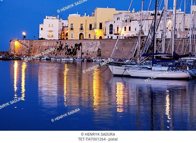 Marina and Castello Angiono at sunrise
