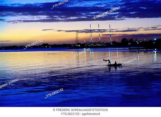 Cienfuegos bay, fisherman, Cuba