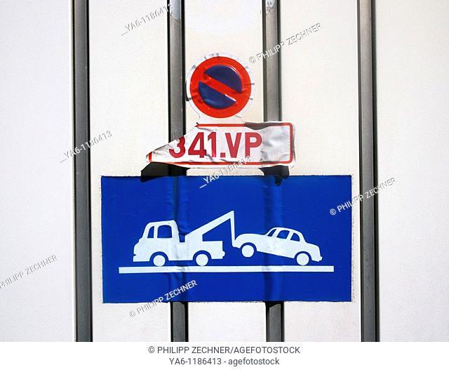 No parking sign at a garage