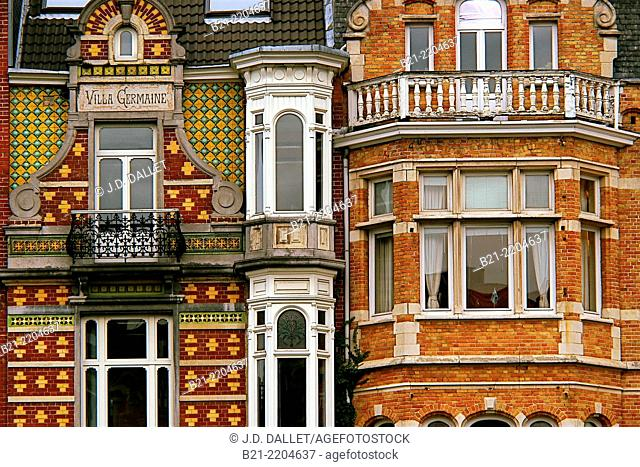 Art nouveau style houses on Square Ambiorix, Brussels, Belgium