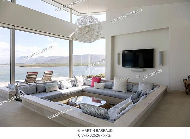 Modern luxury home showcase interior living room with ocean view