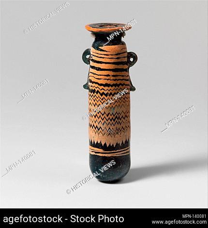 Glass alabastron (perfume bottle). Period: Classical; Date: late 6th-5th century B.C; Culture: Greek, Eastern Mediterranean; Medium: Glass; core-formed
