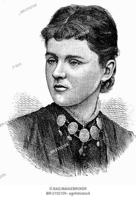 Princess Helen, Duchess of Albany, portrait, historical engraving, 1888