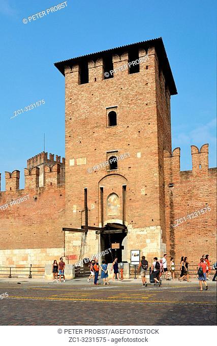 Main entrance to Castelvecchio castle in the historic center of Verona - Italy
