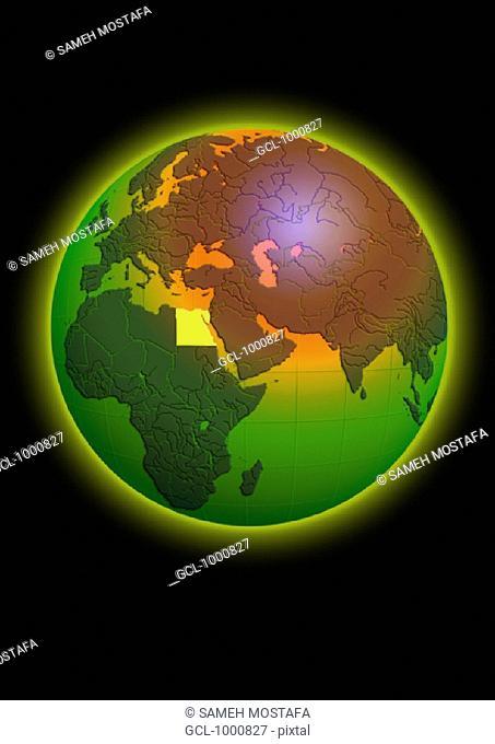 Egypt on Globe