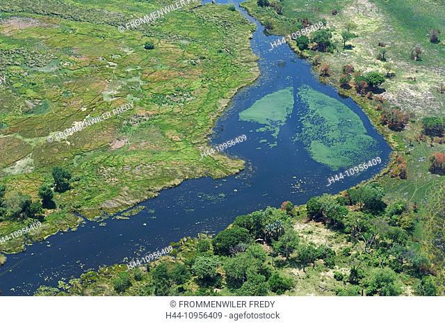 Botswana, Africa, aerial, view, aerial, view, Okawango, delta, river, flow, scenery