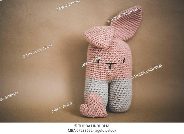 crocheted bunny, pink, heart, still life