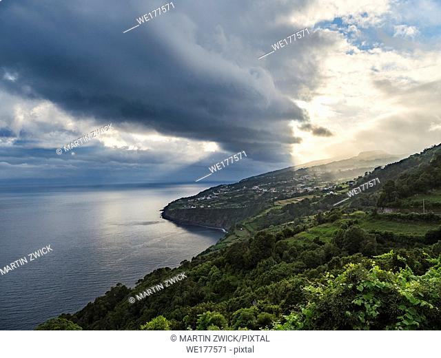 Landscape on the southern coast near Ribeira Seca. Sao Jorge Island, an island in the Azores (Ilhas dos Acores) in the Atlantic ocean