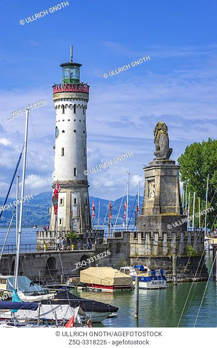 Panoramic view over the harbour to the lighthouse and the Bavarian Lion in the Old Town of Lindau in Lake Constance, Bavaria, Germany, Europe