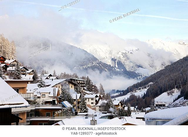 St Anton am Arleberg, Tyrol, Austria, Europe  Chalet rooftops covered with snow in the Alpine ski resort in mid winter