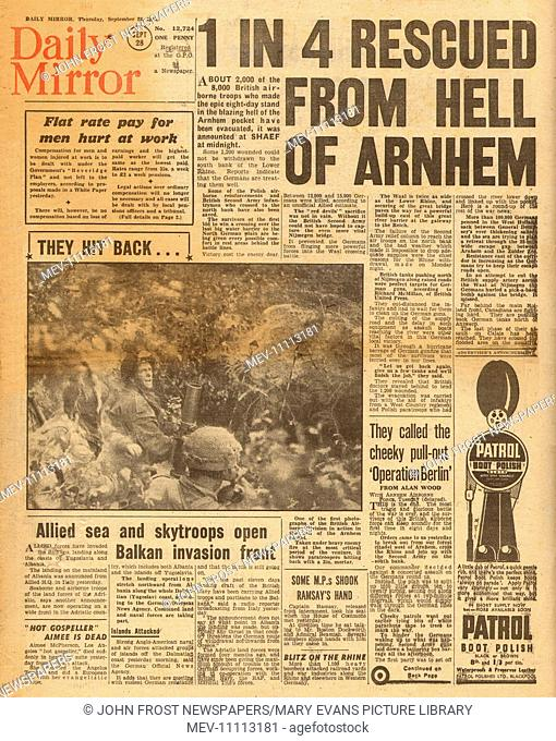 1944 Daily Mirror front page reporting Operation Market Garden and the battle for Arnhem