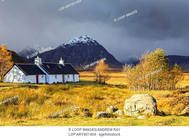 A view of Black Rock Cottage on Rannoch Moor