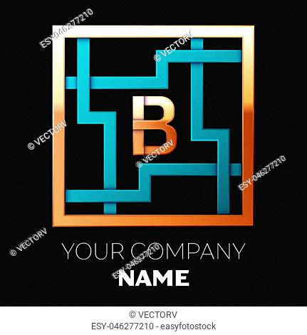 Realistic Golden Letter B logo symbol in the cyan-golden colorful square maze shape on black background. The logo symbolizes labyrinth, choice of right path