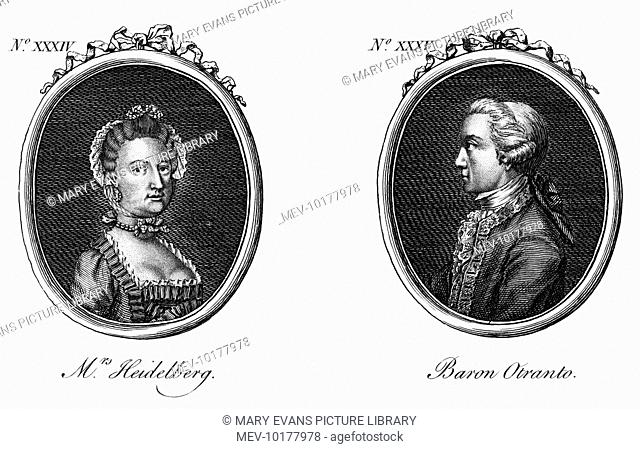 HORACE WALPOLE - writer author of 'The Castle of Otranto' etc., here linked with a Mrs Heidelberg, though their relationship was surely a chaste one