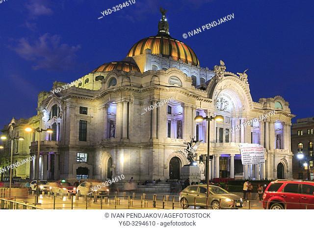 Palacio de Bellas Artes at Night, Mexico City, Mexico
