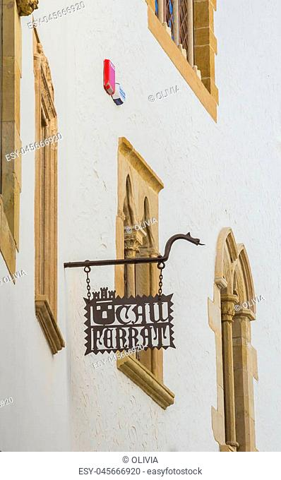 SITGES, CATALONIA, SPAIN - SEPTEMBER 29, 2016: Details of the facade Museum Cau Ferrat, Maricel Palace and Church of Santa Tecla