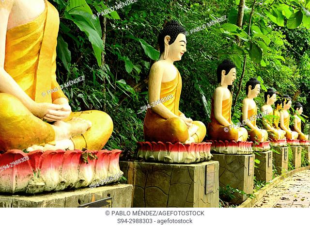 Sculpture of Monks in Wat Sambuk Hill, Sambuk, Kratie province, Cambodia