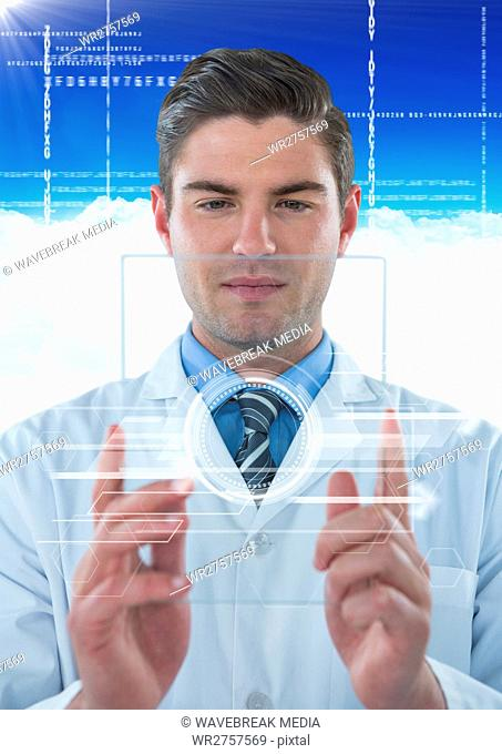 Man in lab coat holding up glass device with white interface against blue sky with cloud