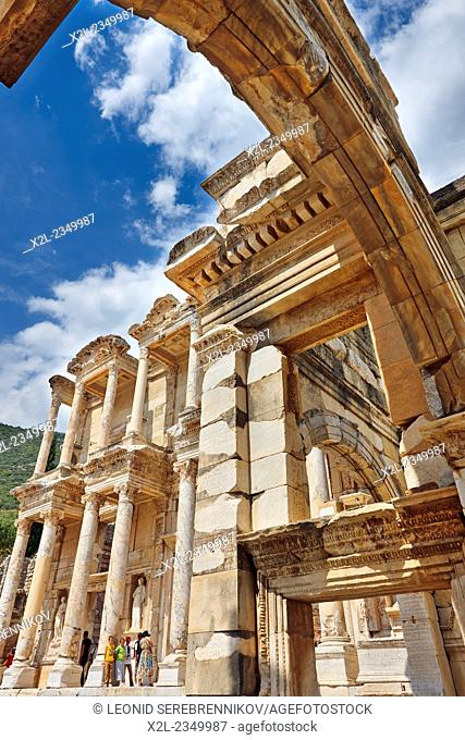 Celsus Library as seen from the Gate of Mazeus and Mythridates. Ephesus Archaeological Site, Izmir province, Turkey