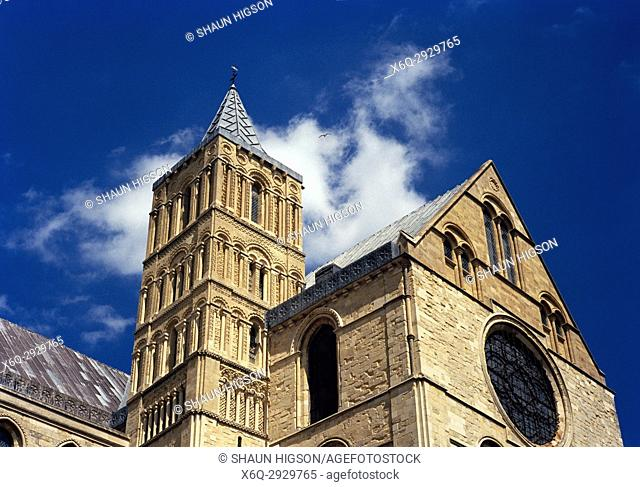 Norman Tower of Canterbury Cathedral in City of Canterbury in Kent in England in Great Britain in the United Kingdom