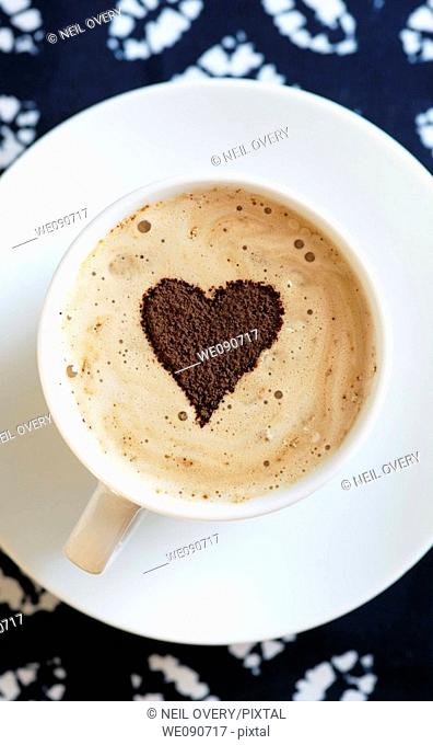 Coffee with heart pattern
