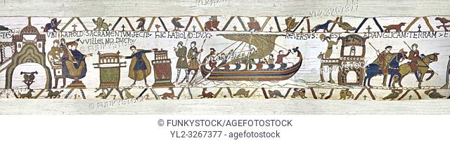 11th Century Medieval Bayeux Tapestry -Scene 23 - Touching 2 reliquires Harold swears fealty to William. Scene 24 - Harold sails back to England from Normandy