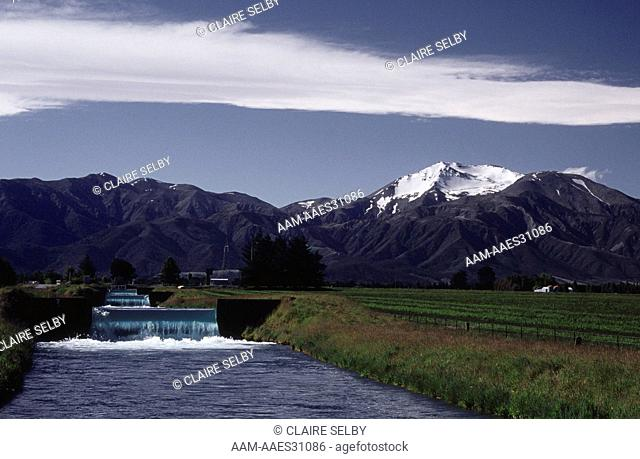 Irrigation Canal with tiered Weirs, Methven, Canterbury, New Zealand