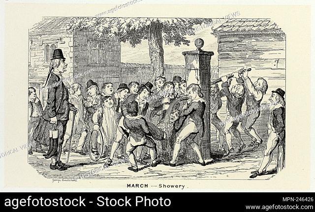 March - Showery from George Cruikshank's Steel Etchings to The Comic Almanacks: 1835-1853 - 1839, printed c. 1880 - George Cruikshank (English