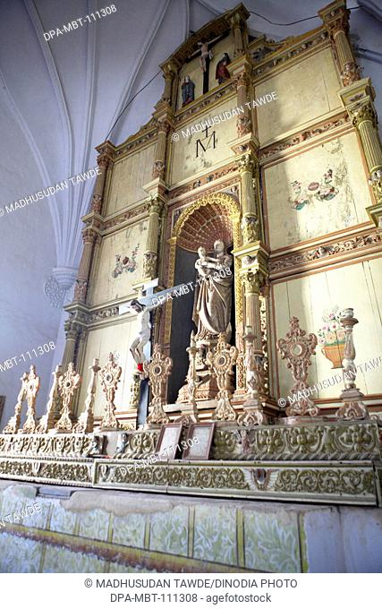 Main Altar ; The Church Of Our Lady Of The Rosary ; Built In 1544 A.D. ; UNESCO World Heritage Site ; Old Goa ; Velha Goa ; India