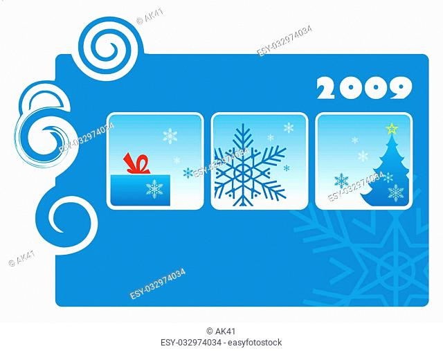 In the centre three squares are located. In them there is a gift, the big snowflake, a fur-tree with a star. On a composition background a horizontal rectangle...