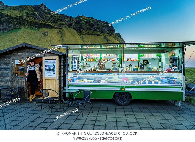 Small food truck by Seljalandsfoss Waterfalls, Iceland