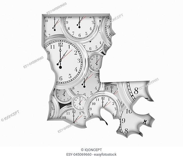 Louisiana LA Clock Time Passing Forward Future 3d Illustration