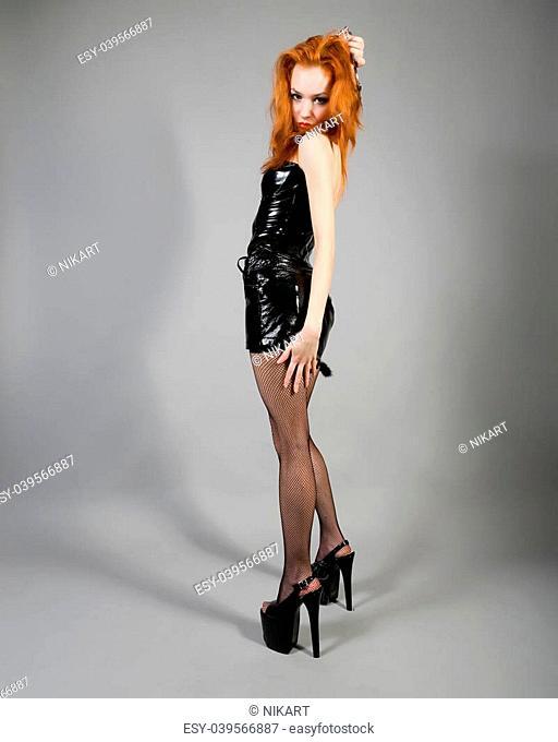 young beautiful girl in erotic uniform