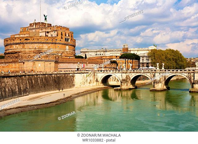 Saint Angel Fortress and Tiber river in Rome